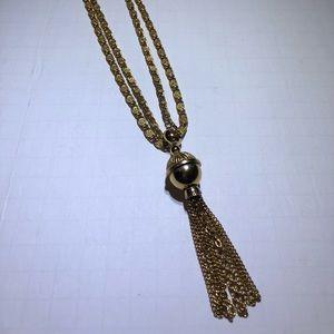 Vintage Goldette Gold chain Tassel Necklace